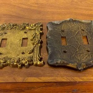 Vintage light switch plates set of two